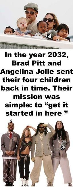 This cracks me up!! haha: Time Travel, Angelina Jolie, Wedding Pin, Funny Stuff, Brad Pitt, Black Eyed Pea, So Funny