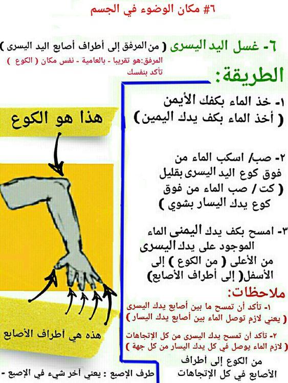 ٦ غسل اليد اليسرى اليسار مكان الوضوء في الجسم Iss
