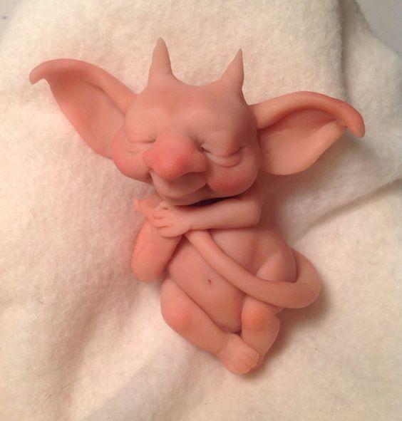 Original Goblin Troll Fairy Baby Gargoyle by HedegaardsWhimsies