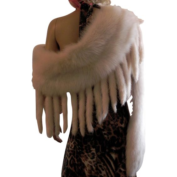 Magnificent White Fringe Stole Wrap Boa Fox Fur Tails $1850.....You have to wear Something !