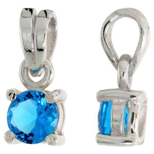 "Sterling Silver Necklace w/ 1 carat size (6 mm) Brilliant Cut Aquamarine-colored CZ Pendant and 18"" Thin Box Chain Sabrina Silver. $22.74"