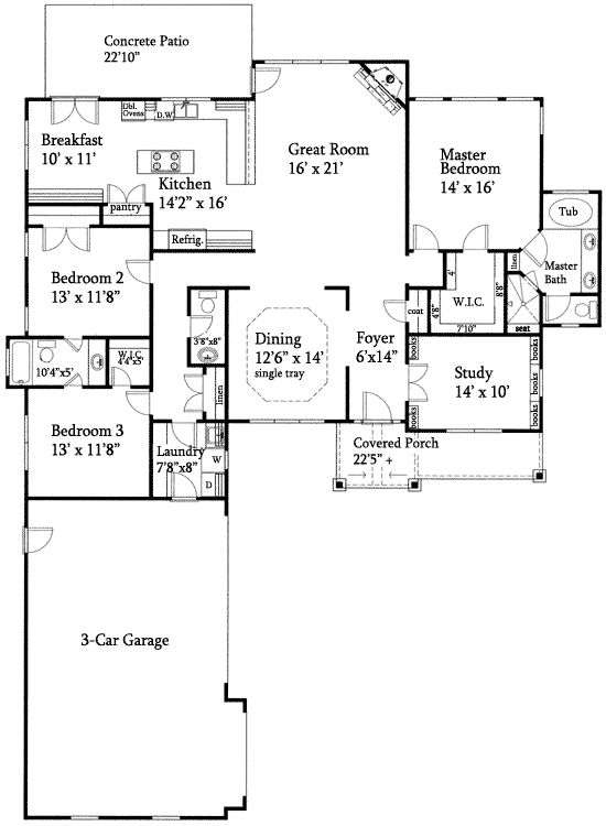 Plan 24352tw open floor plan split ranch traditional for Ranch floor plans with basement