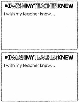 I WISH MY TEACHER KNEW {NOW YOUR TEACHER KNOWS} - TeachersPayTeachers.com