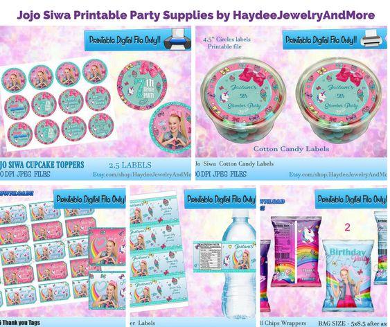 Jojo Siwa Printable Party Supplies by HaydeeJewelryAndMore