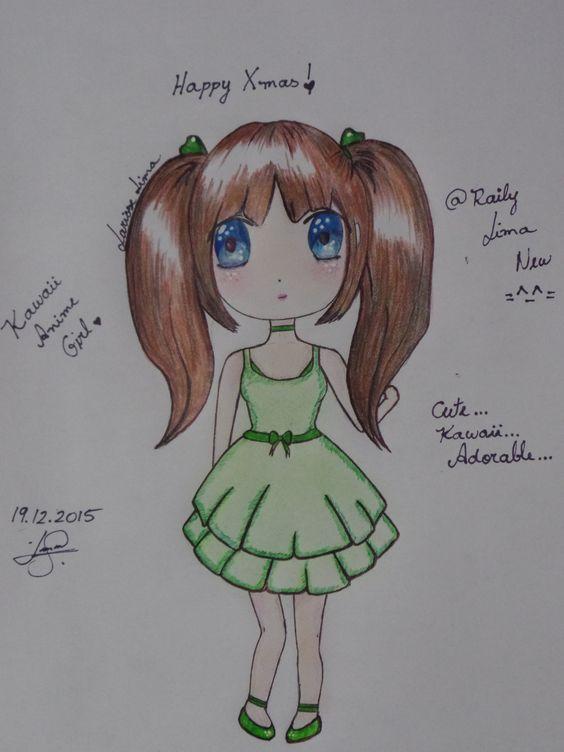 Kawaii Anime Chibi Girl. Happy Xmas... By: Raily Lima ...