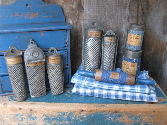 I so love old tin graters--I made labels for them using a quill pen borrrowed from my kid's Harry Potter collection!