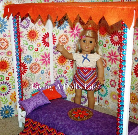 American Girl Doll Living Room Furniture: How To Make - DIY Julie's Canopy Bed