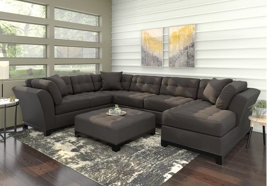 Cindy Crawford Home Metropolis Slate 4 Pc Sectional Living Room