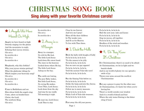 Universal image with christmas carol songbook printable