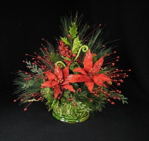 Christmas floral arrangement red poinsettia by for Poinsettia arrangements