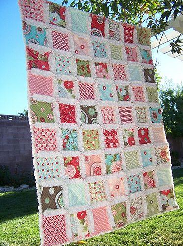 cubrecama en patchwork con la tcnica de rag quilt o quilt deshilado