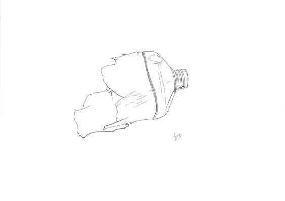 Tuschezeichnung kaputte Flasche - Ink Drawing