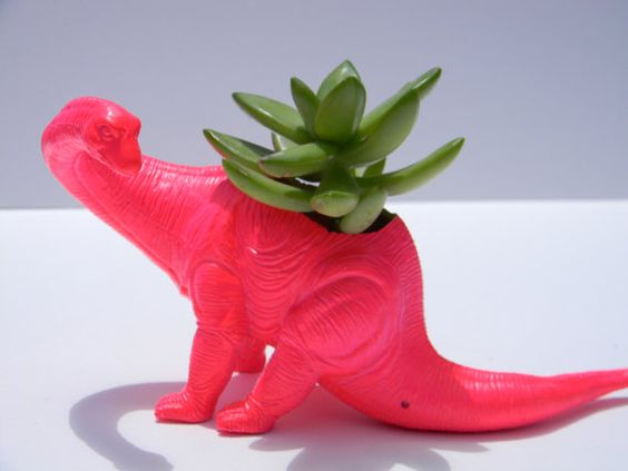 New Neon Pink Dinosaur Planter With Succulent Plant