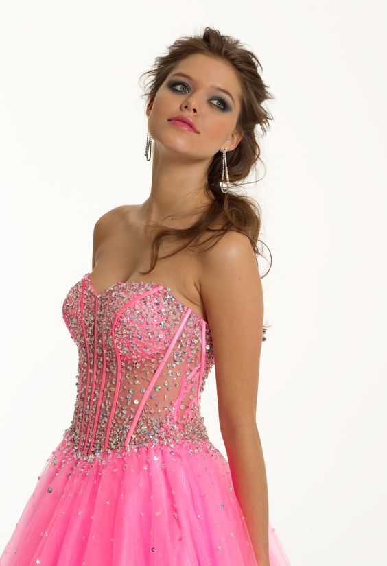 Strapless Illusion Beaded Long Corset Dress in Pink for prom, sweet sixteen party or quinceanera by Camille La Vie