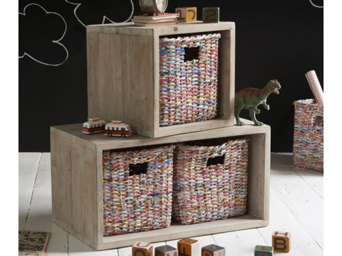 Pop is our clever and beautiful storage creation. The beached timber stackable boxes has woven baskets inside, making it useful and cute!