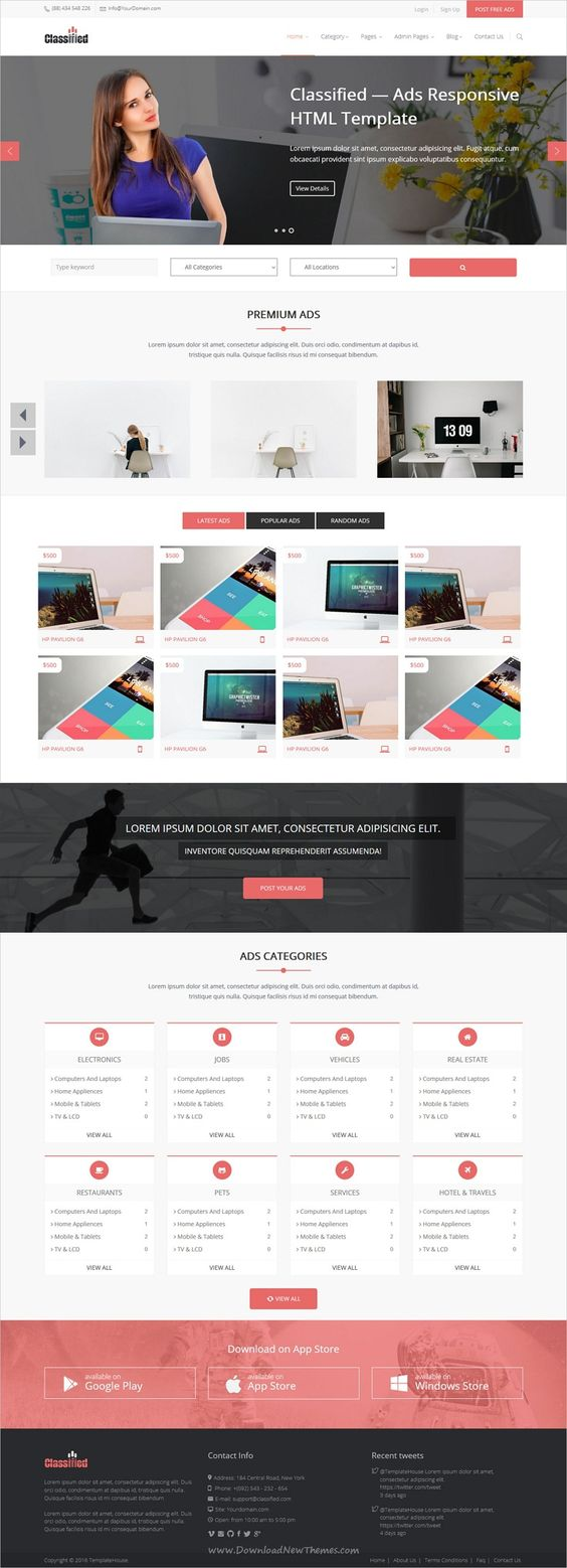 Classified is a modern design responsive html5 bootstrap template for most complete classified