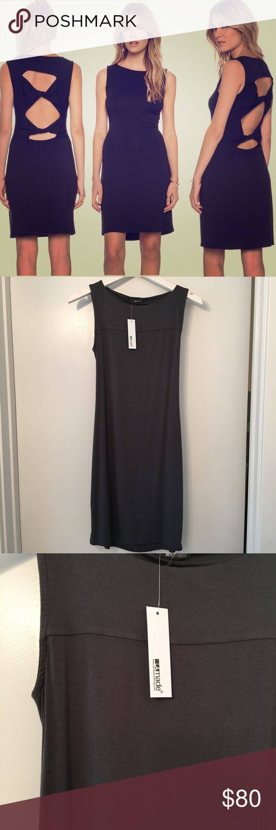 La made dress Dress by LA Made features back it out detailing and boat neckline. Super soft fabric. Hemline hits right above the knee. 95% micromodal 5% spandex. Color is dark gray. This item is NWT retail and has never been sold before, perfect condition. NO TRADES! La made Dresses