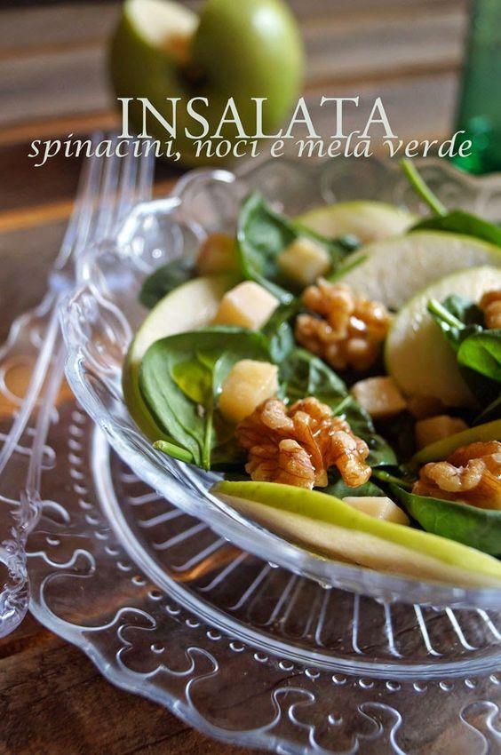 Insalata di spinacini, mela verde, grana e noci