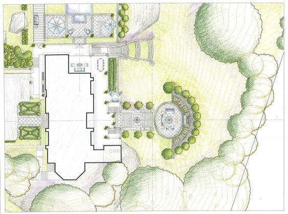 Landscape Architecture Plan Drawing art, drawing, rendering, colored pencil, landscape, garden, design