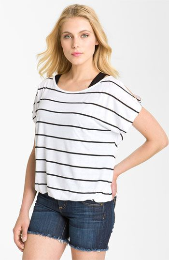 Pleione Cold Shoulder Bubble Top with Camisole available at #Nordstrom
