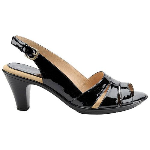 Softspots Neima Slingback Sandals - Black Patent