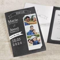 Mooie trouwkaart met foto en krijtbord #trouwkaart #krijtbord #foto #fotostrip
