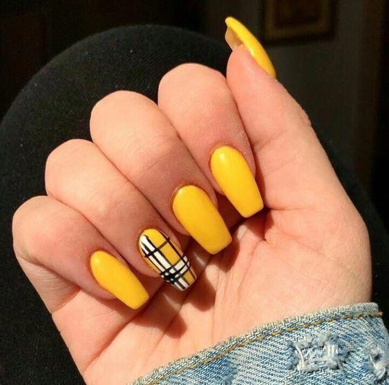 Nails Natural Nails Solid Color Nails Acrylic Nails Cute Nails Wedding Nails Sparkling Glitter In 2020 Solid Color Nails Yellow Nails Design Holographic Nails