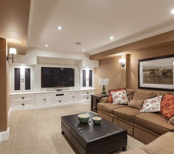 Basement Carpet Colors / Built In Entertainment Center
