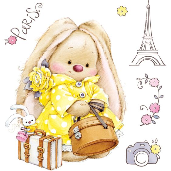 "ScrapBerry's Summer Joy Clear Stamps 4""x4"" - Bunny Paris"