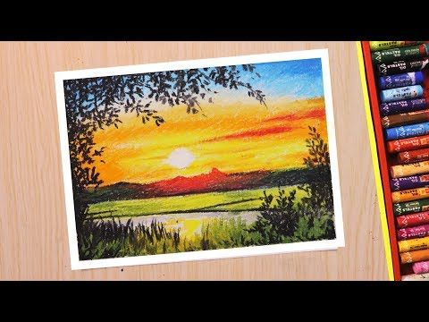 Oil Pastel Drawing For Beginners Scenery Drawing Of Beautiful Sunset In Hindi Youtube Oil Pastel Drawings Sunset Canvas Painting Oil Pastel Art