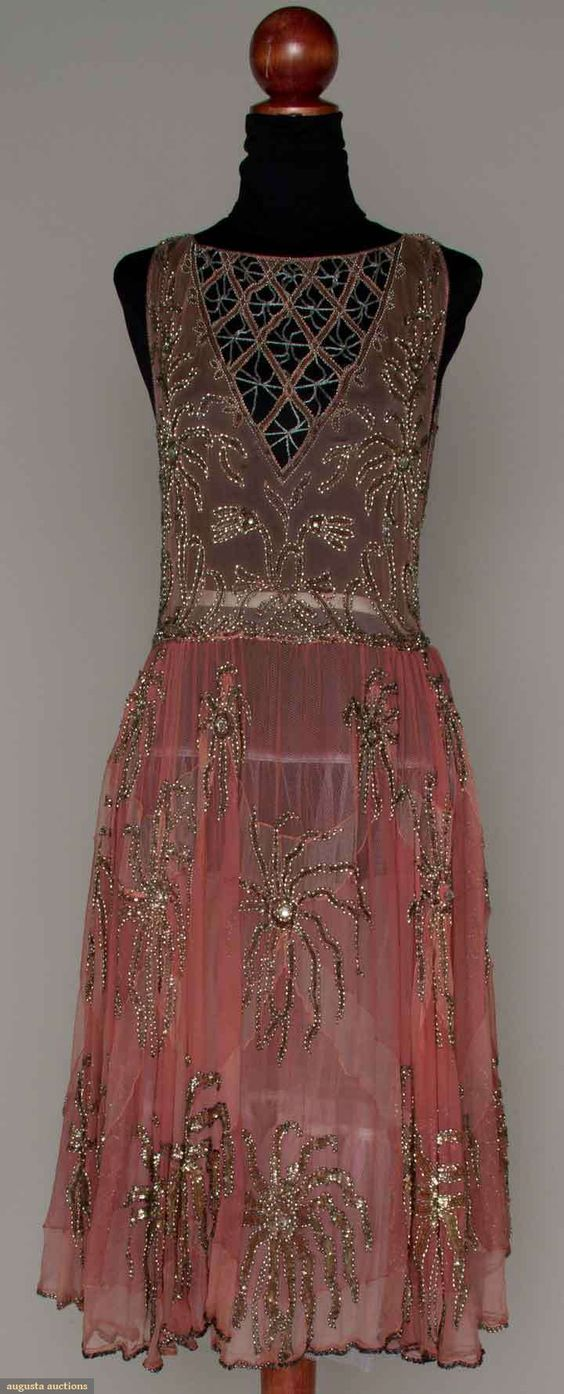 Pink and Silver Beaded Party Dress, Mid 1920s