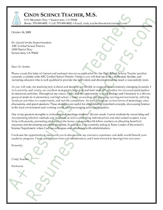 Science Teacher Cover Letter Sample CAREER REINVENTION Pinterest - letter of support sample