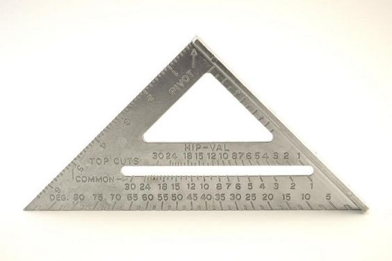 The speed square or rafter-angle square is an extremely versatile tool originally intended to help carpenters quickly and accurately mark roof rafters.
