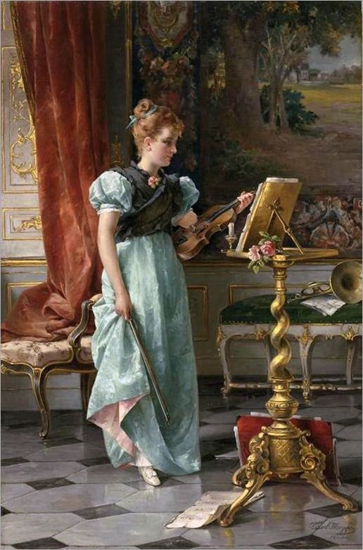 violinist by Carl Herpfer (german, 1836-1897)