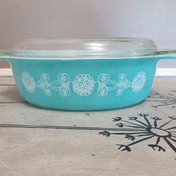 Pyrex Bowl Turquoise Pyrex Dish Covered Casserole Dish Baking Dish White Lace Medallion - Vintage