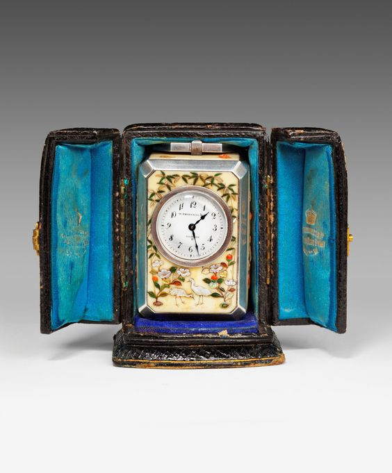 An antique ivory, silver, and shibayama panelled carriage clock by William Thornhill of London