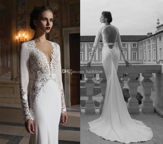 berta winter vintage wedding dress | - Vintage Lace Long Sleeves Berta Winter 2014 Wedding Dresses ...