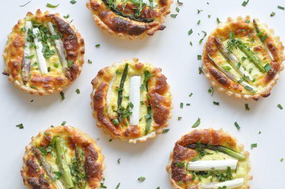 asparagus tartlets with homemade ricotta.