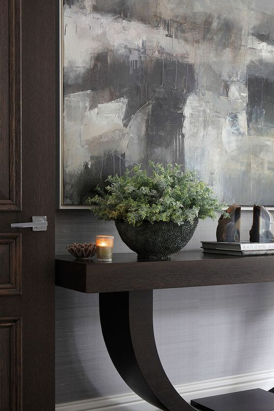 Espresso Brown Wood Console Table Foyer Design Ideas