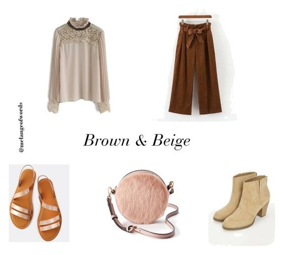 Brown and beige outfit by maha141193 on Polyvore featuring Chicwish, JustFab, LC Lauren Conrad, NudeTones and neutraloutfit