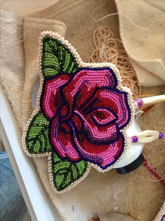 Native american beaded rosettes strips headbands like