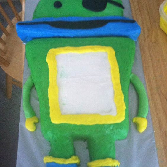 Bot cake from umizoomie. My neighbors son Was having a pirate party but wanted a Bot cake.