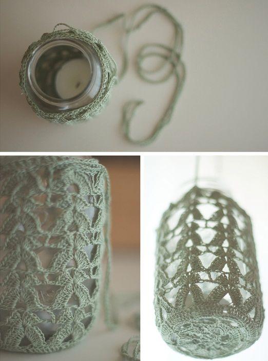 Crochet lace jam jar hangers to create soft twinkling lanterns