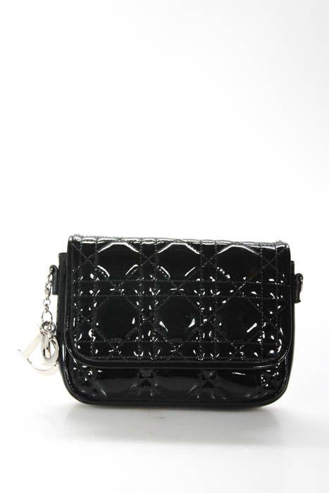 b028cd487fff Christian Dior Black Patent Leather Cannage Lady Dior Mini Crossbody Handbag