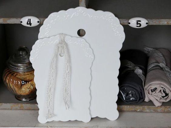 Chic Antique,Provence Schneidebrett,Porzellan,weiß,Romantik,Landhausstil