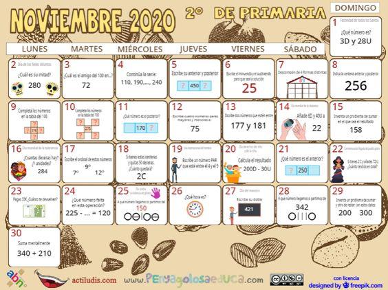 Calendario Segundo ABN – Noviembre 2020
