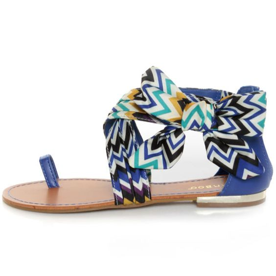 The colors & tribal print of these sandals are fantastic & I really like the bow.  ♥ lulus.com