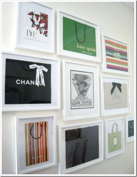 Framed shopping bags. Decor for your closet. - Wow, that's creative... I'm not sure I'll ever have a closet big enough to decorate,  but I do think this is a cool idea!
