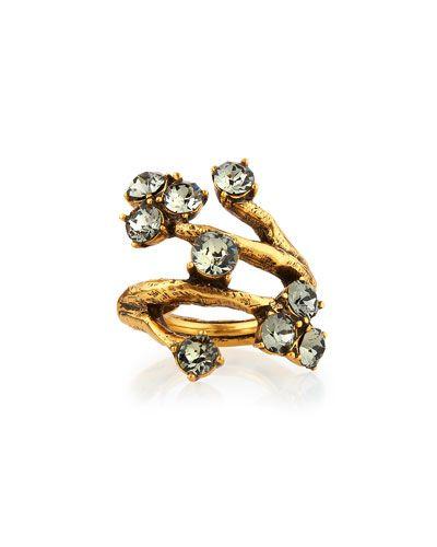 Y2MH2 Oscar de la Renta Crystal Branch Ring