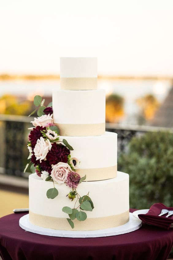 Romantic Elegant Gold And White Wedding Cake With Burgundy Touches